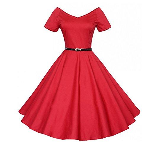 Padgene Vestidos para Mujer Vintage Elegantes Sin Manga Mujer Noche Fiesta Rojo Puro