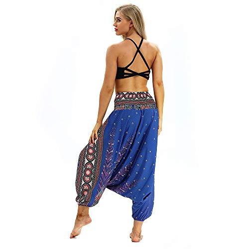 Blue2 Xmiral Baggy Waist Pants Yoga Casual Aladdin Polyester Women Trousers Pants Elastic Jumpsuit Bohemian Harem q6nqZHf4