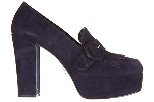 Prada women's suede pumps court shoes high heel blu US size 7.5 1D889G_008_F0008
