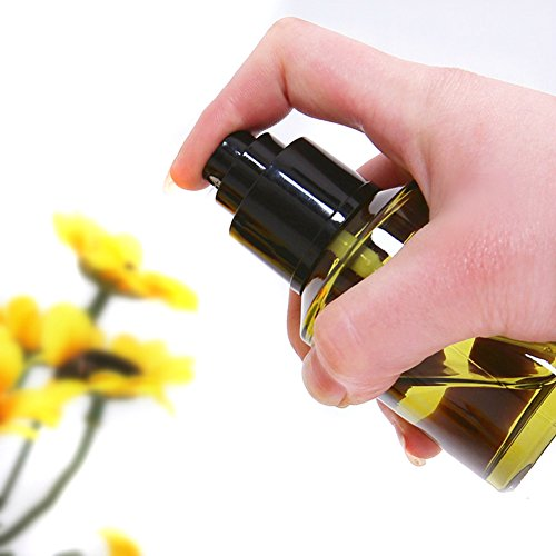 (2oz Light Amber Small Glass Bottles Set with Black Fine Mist Sprayer for Essential Oils Home Travel and Beauty Products)