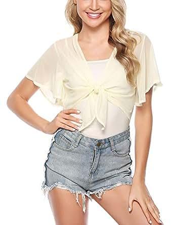 iClosam Women Tie Front Chiffon Shrug Short Sleeve Cropped Sheer Bolero Shrug Cardigan - Beige - Small