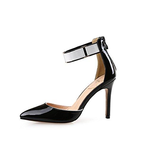 le è scarpe baotou la superficiale le col la scarpe black punta allacciato i trentotto scarpe tacco ZHANGJIA alto parola primavera a con le è sandali zHH1Y