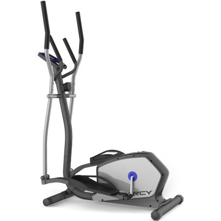 Magnetic Resistance Elliptical with Heart Pulse Sensors Fitness Exercise Cardio Workout Gym Upper Body Workout Heavy Duty Frame Design up to 300lb 8 Level Resistance Increases Cardiovascular Endurance