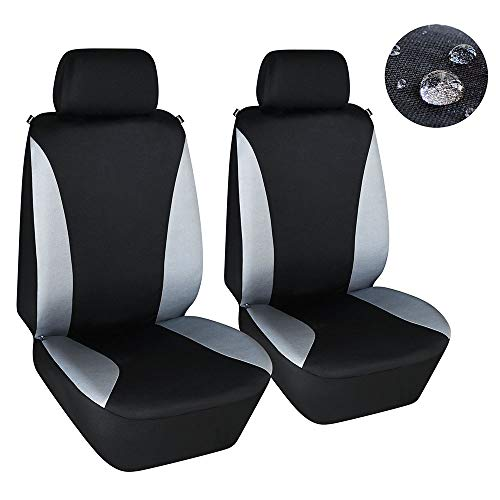Elantrip Waterproof Front Car Seat Covers Set Universal Fit Bucket Seat Protector Airbag Compatible for Cars SUV Truck, Gray and Black 2 PC