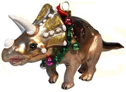 December Diamonds Blown Glass Ornament - Triceratops Dinosaur with Christmas Garland -