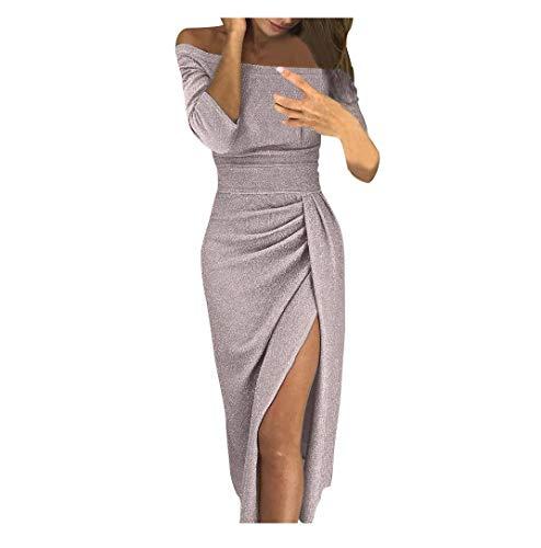 Winsummer Women Off Shoulder Ruched High Slit Metallic Glitter Evening Party Dress Elegant Cocktail Bodycon Midi Dresses by Winsummer (Image #3)