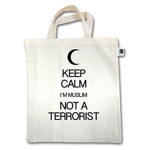 Keep calm - Keep calm Im Muslim not a terrorist - Unisize - Natural - XT500 - Jutebeutel kurzer Henkel