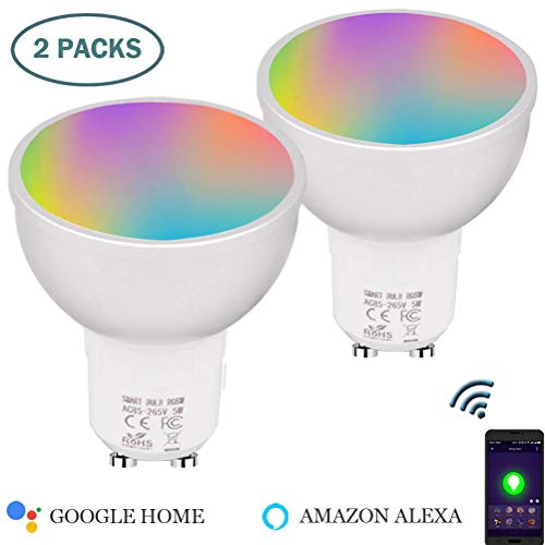 Phoenix Shine GU10 Smart Bulbs,RGBW GU10 Smart LED 50 Watts Equivalent,GU10 Smart Light Warm White,Dimmable GU10 LED Light,APP Remote Control,Works with Alexa,Google Home (2 Pack) by Phoenix Shine