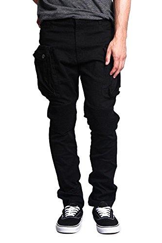 Black Jean Style Pant - Victorious G-Style USA Men's Big Cargo Pocket Pants DL1065 - Black - 32/32 - H8D