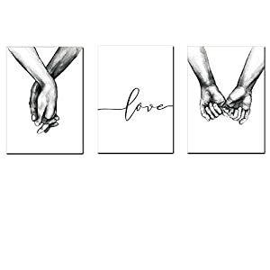 HERRA Wall Art Minimalist Painting Black and White Canvas Line Art Print Poster Love Hand in Hand Lover Sketch Art Line…