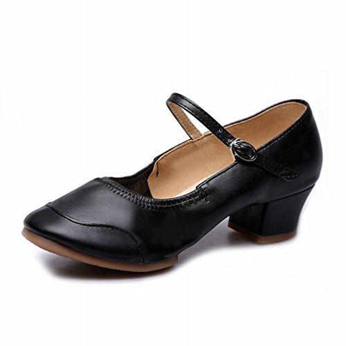 Modern Zapatos Baile Tobillo 37 de Baile Jazz Zapatos Baile Moderno Negro Sandalias Fondo Zapatos de de BYLE Cuero Cuadrados bajo Blando Samba Baile de w7vI5t