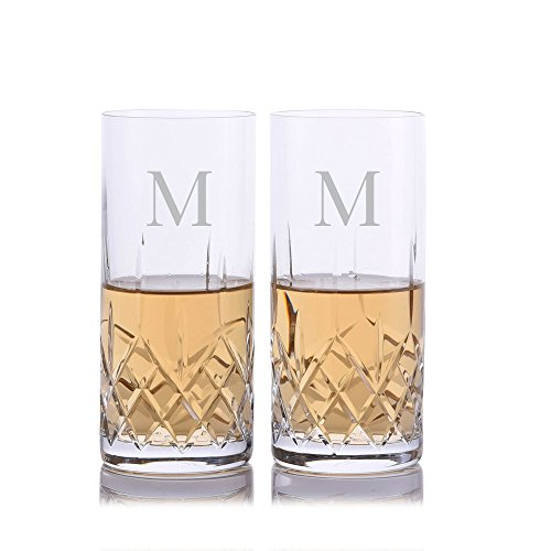 (Personalized Crystalize Cut Crystal Highball Cocktail Glass w/Titanium 2pc. Set by Crystalize Engraved & Monogrammed - Perfect Groomsmen Gift or for Your Home Bar)