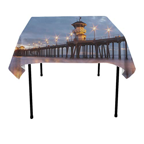 Huntington Small Bar - Premium Table Cloths for Holiday Dinner, Catering Events, BBQ - Huntington Beach Pier Dust-Proof Stain Resistant Table Toppers Polyester Dinning Tabletop Decoration