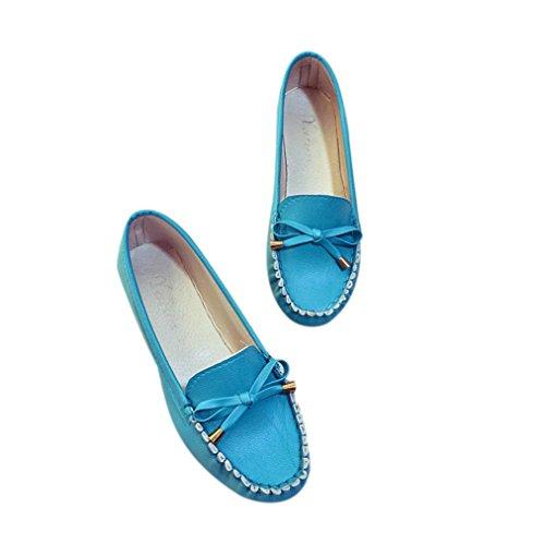Rawdah Mujeres Flats Zapatos Casual zapatos de mujer se desliza plana plana zapatos de mujer Azul