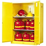 JUSTRITE MANUFACTURING 899000 Yellow 18 Gauge CR Steel Sure-Grip EX Flammable Safety Cabinet with 2 Manual-Close Door, 90 gal Capacity, 43'' W x 65'' H x 34'' D, 2 Shelves