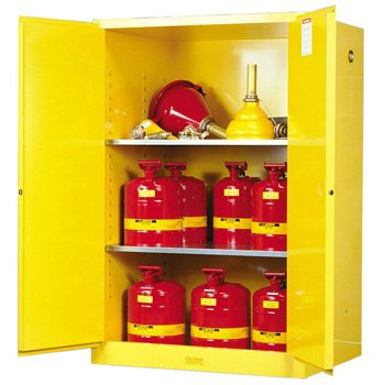 JUSTRITE MANUFACTURING 899000 Yellow 18 Gauge CR Steel Sure-Grip EX Flammable Safety Cabinet with 2 Manual-Close Door, 90 gal Capacity, 43