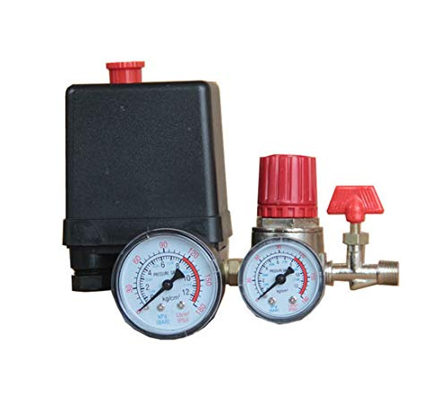 Jiayouy Small Air Compressor Pressure Switch Control 15A 240V/AC Adjustable Air Regulator Valve Compressor Four Holes