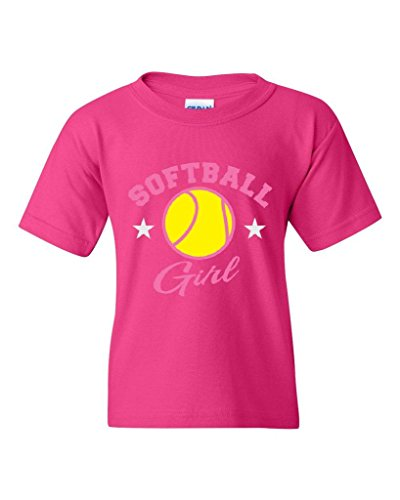 Price comparison product image Blue Tees Plush Softball Girl Fashion People Best Friend Birthday Family Couple Gift Unisex Youth Kids T-Shirt Tee Youth X-Large Heliconia Pink