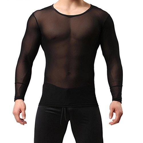 FUNIC Mens Breathable Slim Fit O Neck T-Shirt Sports Long-Sl