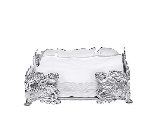 Arthur Court Napkin Holder Box Classic Heavy Cast Aluminum Lunchon Size | Perfect for all sizes of Large Lunch Square Spring/Easter Napkins 8