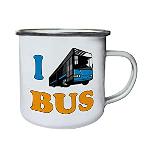 I Love Bus Driver Funny Vintage Art City Retro,Tin, Enamel 10oz Mug yy64e