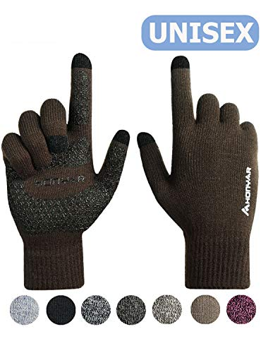 HONYAR Gloves Touchscreen, Winter Gloves for Women with Touch Screen Fingers Texting - Mens Driving Gloves with Hand Warm Liner - Elastic Cuff - Anti-Slip Grip - Running Driving - Coffee (M)