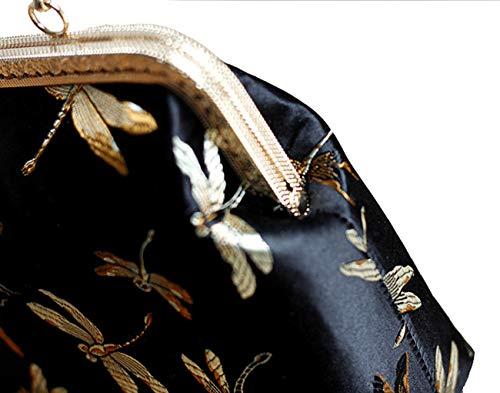 Embrayage Bal des chaîne de Brodé d'autres Noir Jours de Et Femmes Sangle avec fériés Soie 8x6x3inch Bridal 21x15x7cm enveloppe Sac Noir 8Fx8anr