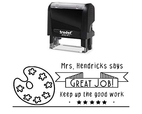 Classroom Teacher Rubber Stamp, Self-Inking Personal. Great Job, Keep up The Great Work, and an Art Pallet Image. Size Approx. 7/8'' x 2 3/8'' Black, Blue, Green, Purple or Red Ink by Pickled Teacher Stamps
