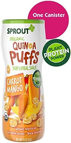Sprout Organic Quinoa Puffs Baby Snacks, Carrot Mango, 1.5 Ounce Canister (Single)