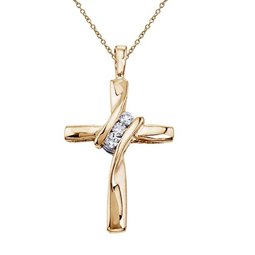 "Petite 10k Yellow Gold Three Stone Off Set Diamond Cross Pendant with 18"" Chain"
