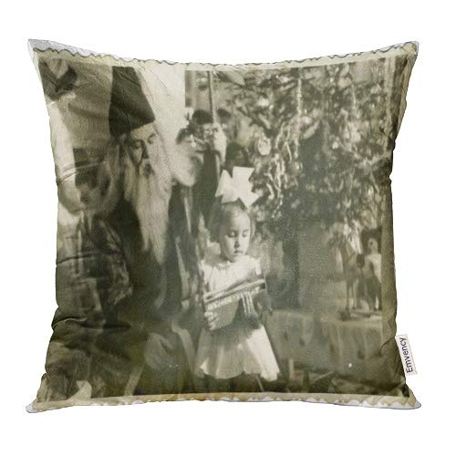 (Emvency Decorative Throw Pillow Covers Cases Vintage Central Bulgaria Circa 1950 The Area Plovdiv Grandpa Frost in Kindergarten Christmas Time Child 18x18 Inch Case Cover Cushion Two)