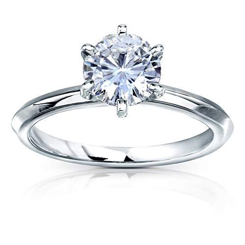 Classic Solitaire Round Brilliant Moissanite Engagement Ring 1 Carat 14k White Gold (DEF, VS), 7