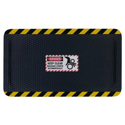 Nitrile Rubber Hog Heaven™ Safety Message Anti-Fatigue Mats - Danger Keep Machine Clear - 3'w x 5'l, Black/Yellow Border DANGER-KEEP CLEAR MACHINE STARTS AUTOMATICALLY - Vertical -7/8''