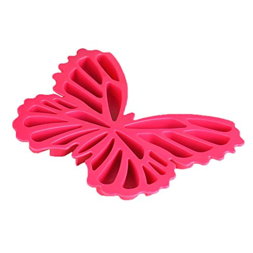 Butterfly Silicone Ice Maker - Large Capacity - 17.8x15x1.3CM - DIY Flexibility Ice Mold Tray For Cupcake Icing//Bakeware//Candy//Chocolate//Pudding//Whisky//Bar//Kitchen//Dining (Red)