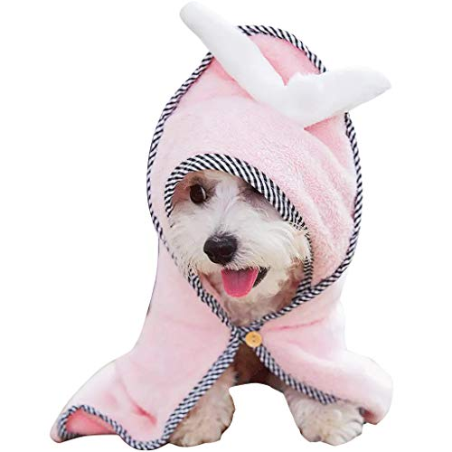 - Pet Bath Towel Dog Cat Bathrobe Ultra Absorbent Drying Towel with Angle Wing