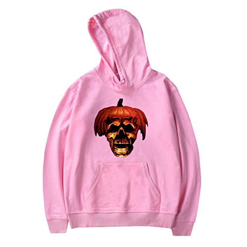 Qinnyo Tops for Men's Tshirts Fashion Hooded Halloween Coat Fashion Jacket Printing Party Long Sleeve Hoodie Sweatshirt Pink (Wie Ein Nerd Für Halloween)