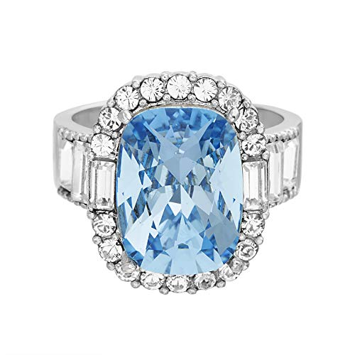 Devin Rose Large Cocktail Ring for Women in Rhodium Plated Brass Made with Swarovski Crystal (Aquamarine Color Size 7