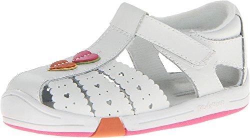 Jumping Jacks Kids Baby Girl's Heart Line (Toddler) White Leather/Multi Trim Sandal 6.5 Toddler W