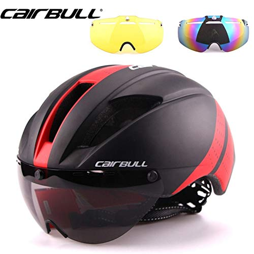 Jhin Stella Bicycle Helmet - Lens 280g Speed Aero TT Road Bicycle Helmet Cycling Bike Sports Safety TT Helmet Racing in-Mold Road Bike Cycling Goggles red 1 -