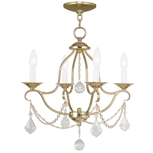 Livex Lighting 6424-02 Chesterfield 4 Light Mini Chandelier, Polished Brass
