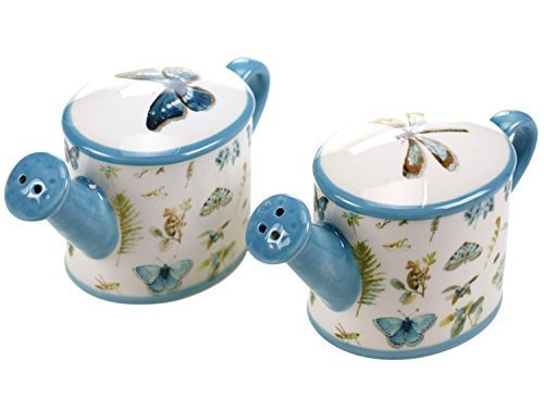 Green House Watering Can Salt and Pepper Shakers Set Ceramic Butterflies