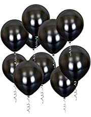 Black Balloons, 60 Pack 12 Inches Helium Latex Party Balloons Set with Gold Ribbon for Black Theme Party Weddings Baby Shower Birthday Decoration