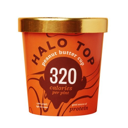 Halo Top Ice Cream Pint, Peanut Butter Cup, 16 Ounce (Pack of 8) (Top Ice Cream)
