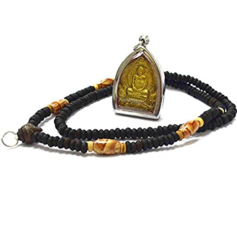 Thailand Buddha Jewelry Pendants Loung Bhor Roy Pasadiko Amulets for Good Life (Brass 26650 Rda)