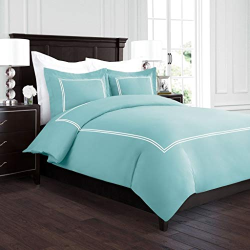Beckham Hotel Collection Luxury Soft Brushed 2100 Series Embroidered Microfiber Duvet Cover Set with Beautiful 2-Stripe Embroidery - Hypoallergenic -Full/Queen - Aqua/White -