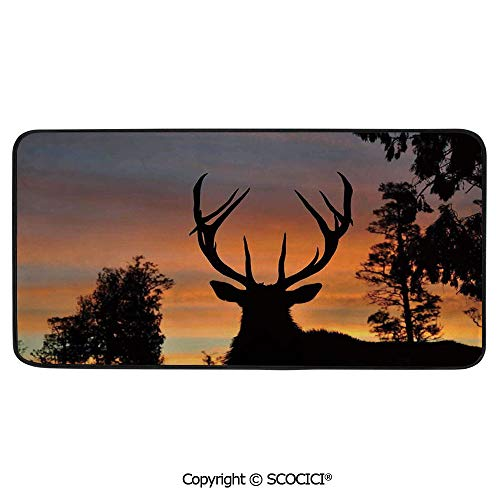 Rectangle Rugs for Bedside Fall Safety, Picnic, Art Project, Play Time, Crafts, Large Protective Mat, Thick Carpet,Antlers Decor,Black Deer Red Sky Background West Coast South Island,39