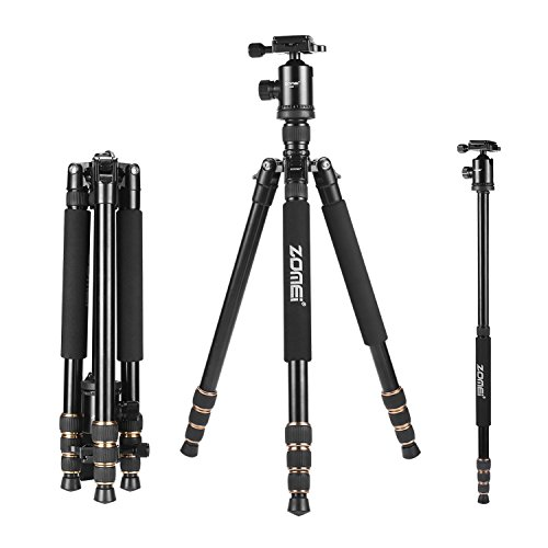 Zomei 65″ Tripod Monopod with Z818 Series Quick Release Plate Lightweight Professional Compact for Canon Nikon Sony DSLR Camera