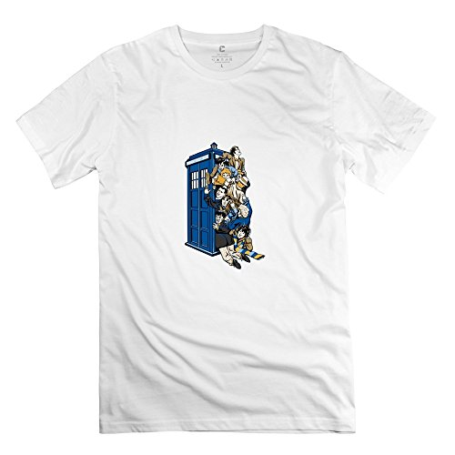 Jiuzhou Men's Tshirts Doctor Who XXL White