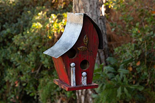 Alpine Corporation YEN134HH-RD Artful Wooden Birdhouse, 12 Inch Tall, Red