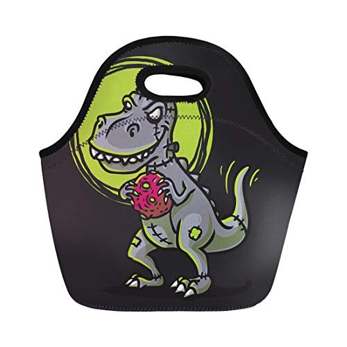 Semtomn Lunch Tote Bag Alien Trex Zombie Cartoon Angry Apocalypse Armageddon Asteroid Astronomy Reusable Neoprene Insulated Thermal Outdoor Picnic Lunchbox for Men Women ()